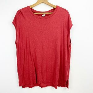 Free People Red Short Sleeve Tunic Top Size Large